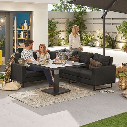 Compact Eclipse Outdoor Fabric Casual Dining Set with Rising Table - Dark Grey
