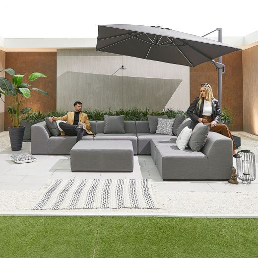 Buddha Outdoor Fabric Sofa Set - Light Grey