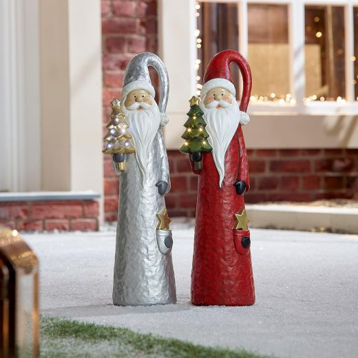 Pair of 51cm Mixed Father Christmas the Santa Figures