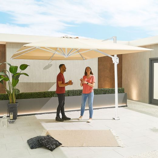 Galaxy 4m x 3m Rectangular White Frame Cantilever Parasol with LED Lights - Beige