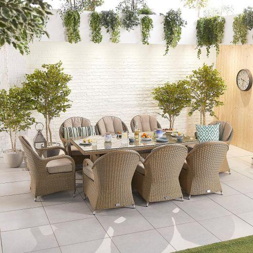 Leeanna 8 Seat Dining Set - 2m x 1m Rectangular Table - Willow