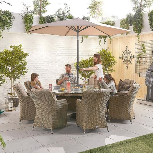 Camilla 8 Seat Dining Set - 1.8m Round Table - Willow