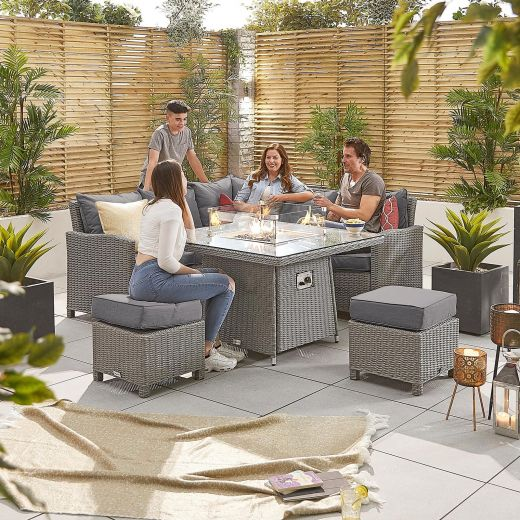 Compact Ciara Casual Dining Corner Sofa Set with Firepit Table - White Wash