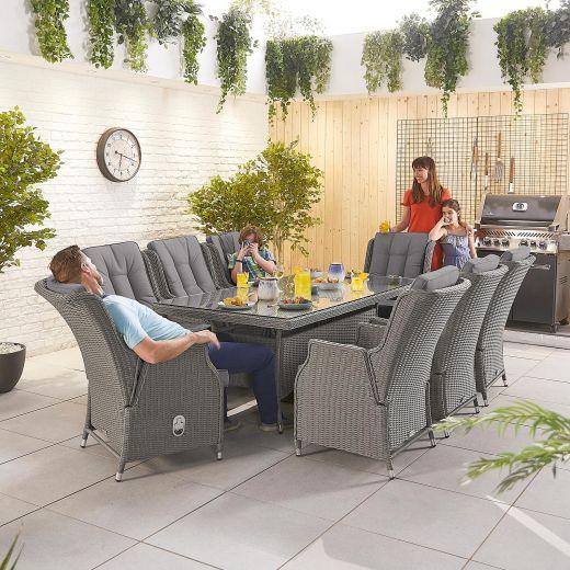 Carolina 8 Seat Dining Set - 2m x 1m Rectangular Table - Slate Grey