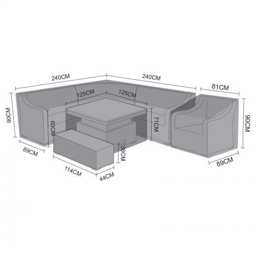 Cover Pack for L-Shaped Nova Harper Corner Dining Set with Rising & Firepit Tables