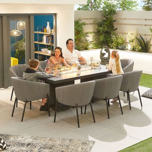 Edge Outdoor Fabric 8 Seat Rectangular Dining Set with Firepit - Light Grey