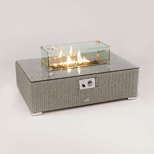 Heritage Chelsea Rectangular Firepit Coffee Table - White Wash