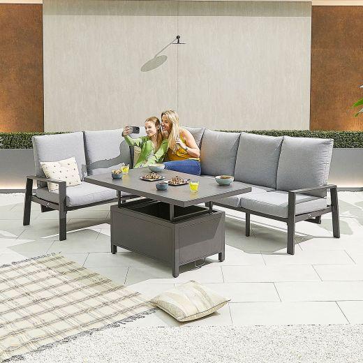 Enna Left Hand Aluminium Reclining Casual Dining Corner Sofa Set with Rising Table - Grey Frame