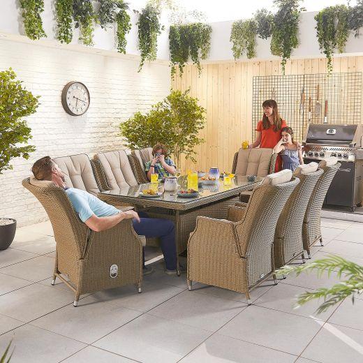 Carolina 8 Seat Dining Set - 2m x 1m Rectangular Table - Willow