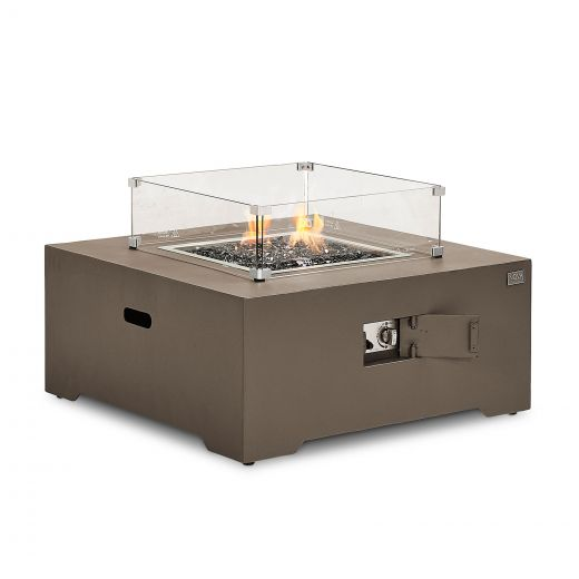 Lunar Aluminium Square Firepit Coffee Table - Coffee