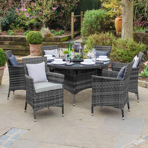 Amelia 6 Seat Dining Set - 1.3m Round Table - Grey