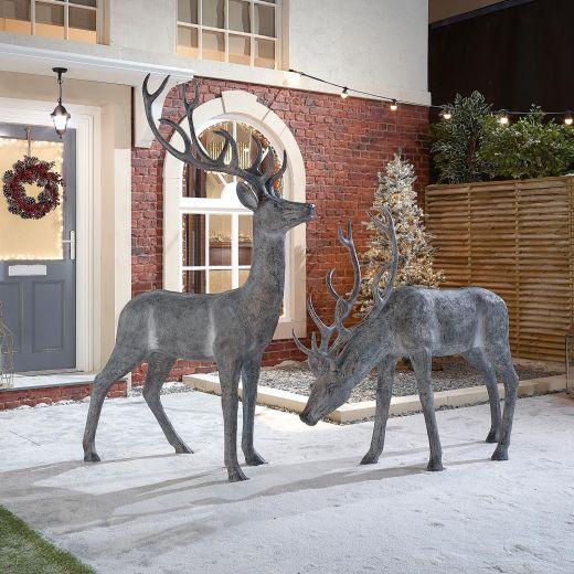 The Large Grey Christmas Reindeer Duo