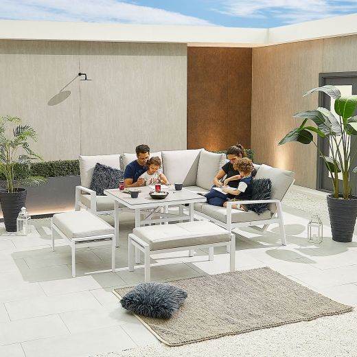 Compact Enna Aluminium Reclining Casual Dining Corner Sofa Set with Parasol Hole & Benches - White Frame