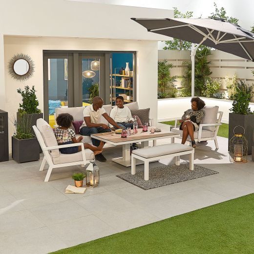 Vogue Aluminium Casual Dining 3 Seater Sofa Set with Rising Table & Bench - White Frame