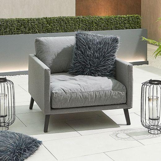 Bliss Outdoor Fabric Lounge Armchair - Light Grey