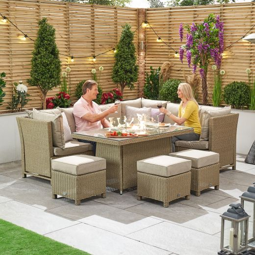 Ciara Right Hand Reclining Casual Dining Corner Sofa Set with Firepit Table - Willow
