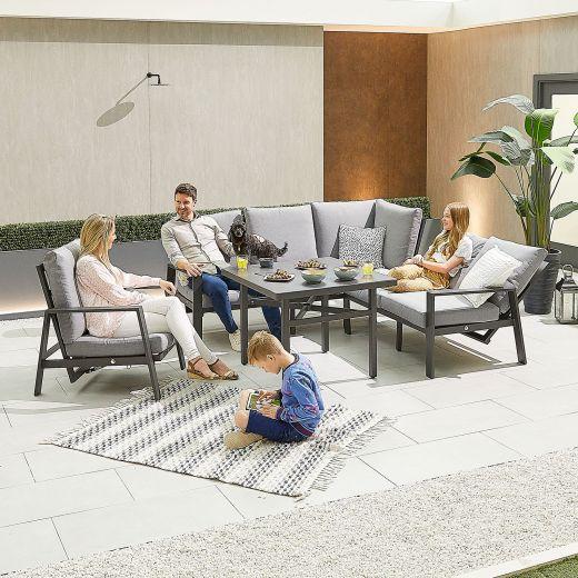 Compact Enna Aluminium Reclining Casual Dining Corner Sofa Set with Parasol Hole & Armchair - Grey Frame