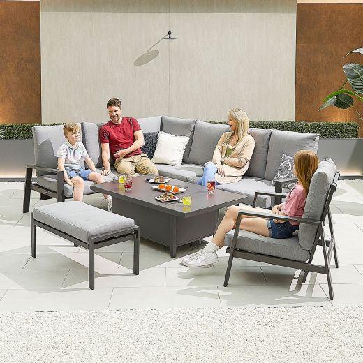 Enna Left Hand Aluminium Reclining Casual Dining Corner Sofa Set with Rising Table & Armchair & Bench - Grey Frame