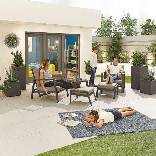 Enna Aluminium Reclining 5 Piece Lounge Set - Grey Frame
