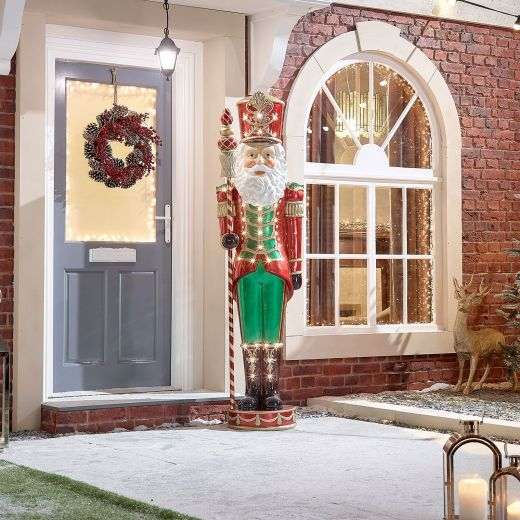 Nickolas the 6.5ft LED Santa Nutcracker - Warm White