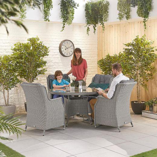 Thalia 4 Seat Dining Set - 1.2m Round Table - White Wash