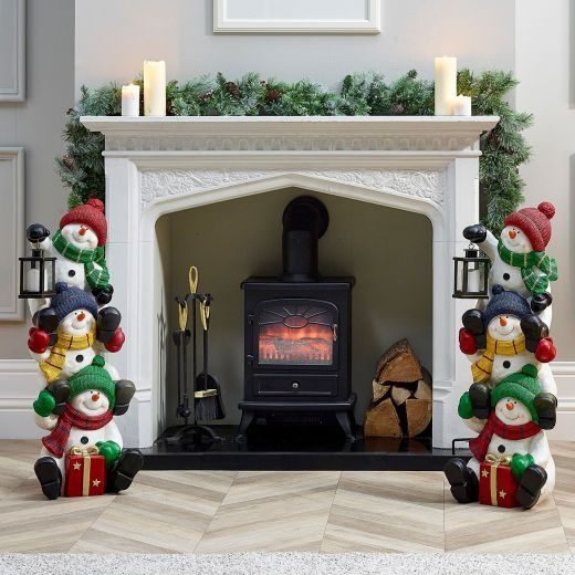 Pair of 90cm Stacking Snowman Figures