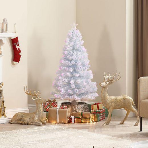 5ft Fibre Optic White & Pink Artificial Christmas Tree