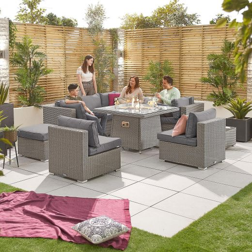 Chelsea 2C Rattan Corner Sofa Set with Firepit Table - White Wash