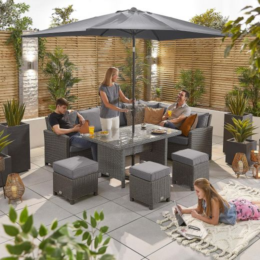 Ciara Right Hand Casual Dining Corner Sofa Set with Parasol Hole - Slate Grey