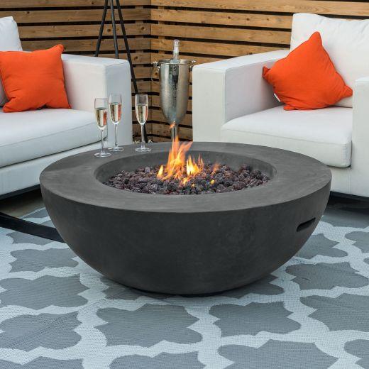 Fireglow Brisbane Round Gas Fire Bowl - Dark Grey