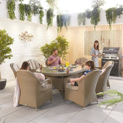 Leeanna 8 Seat Dining Set - 2.3m x 1.2m Oval Table - Willow
