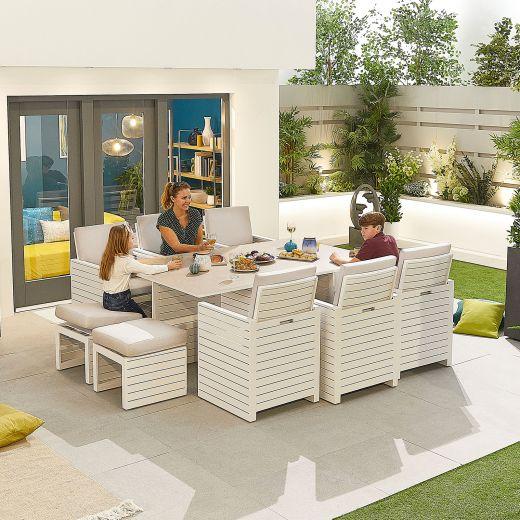 Adria Aluminium 6 Seat Cube Set - White Frame