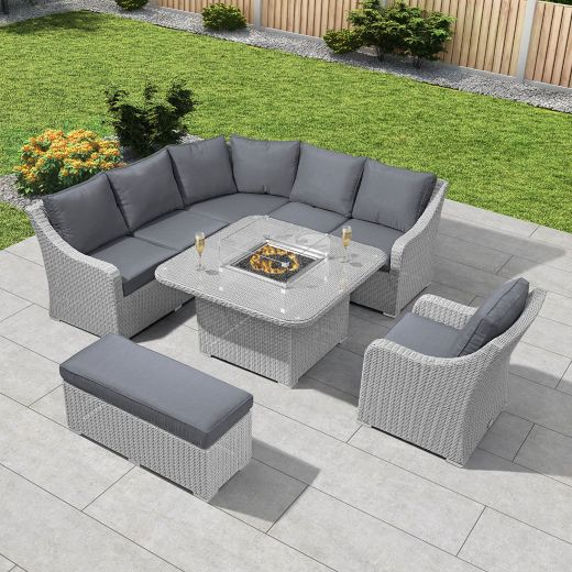 Harper Casual Dining Corner Sofa Set with Firepit Table - White Wash
