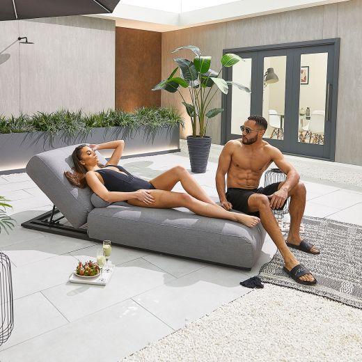 Serenity Outdoor Fabric Sun Lounger - Light Grey