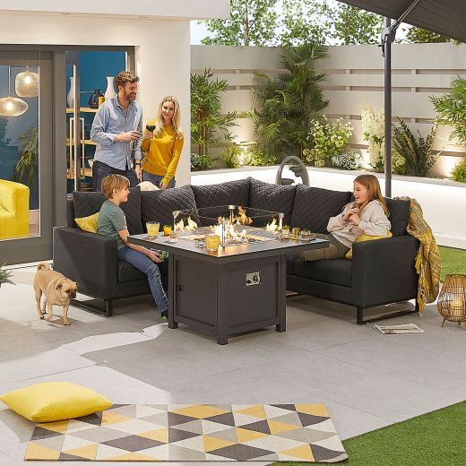Compact Eclipse Outdoor Fabric Casual Dining Set with Firepit Table - Dark Grey