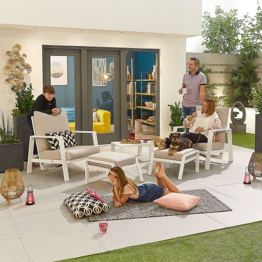 Enna Aluminium Reclining 5 Piece Lounge Set - White Frame