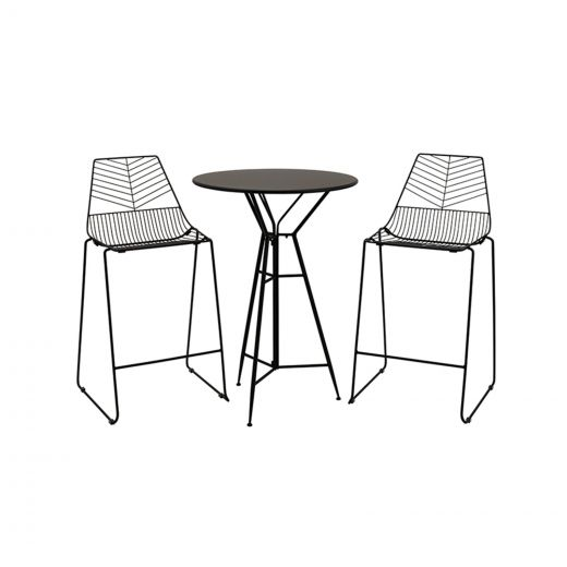 Messina 2 Seat Bar Set - 70cm Round Table - Black