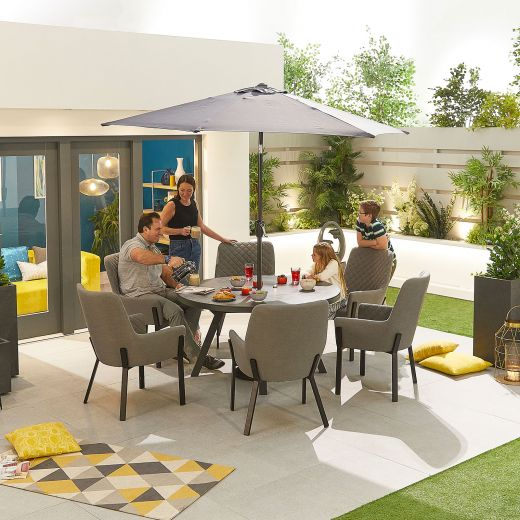Genoa Outdoor Fabric 6 Seat Round Dining Set - Light Grey
