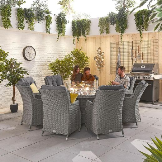 Thalia 8 Seat Dining Set - 1.8m Round Firepit Table - Slate Grey