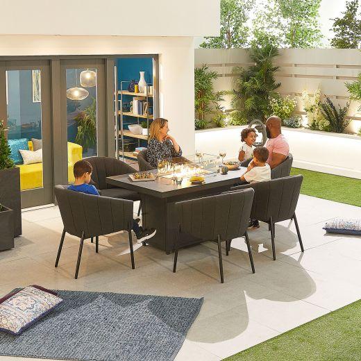 Edge Outdoor Fabric 6 Seat Rectangular Dining Set with Firepit - Dark Grey