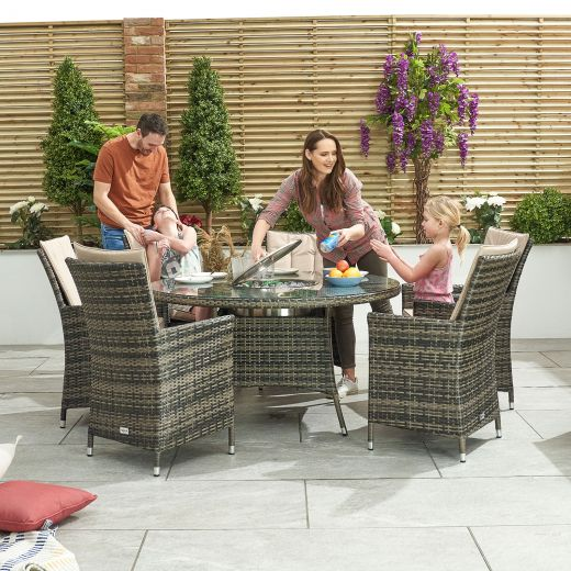 Sienna 6 Seat Rattan Dining Set with Ice Bucket - 1.35m Round Table - Brown