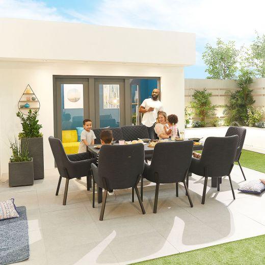 Genoa Outdoor Fabric 8 Seat Rectangular Dining Set - Dark Grey