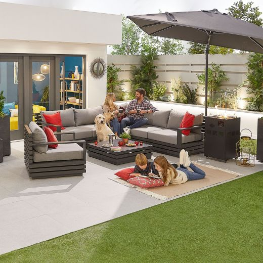 San Marino Aluminium Corner Sofa Set with Armchair - Grey Frame
