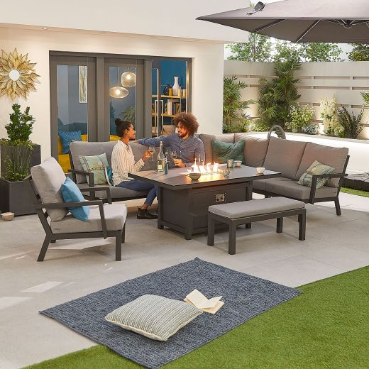 Vogue Aluminium Casual Dining Corner Sofa Set with Firepit Table & Armchair & Bench - Grey Frame