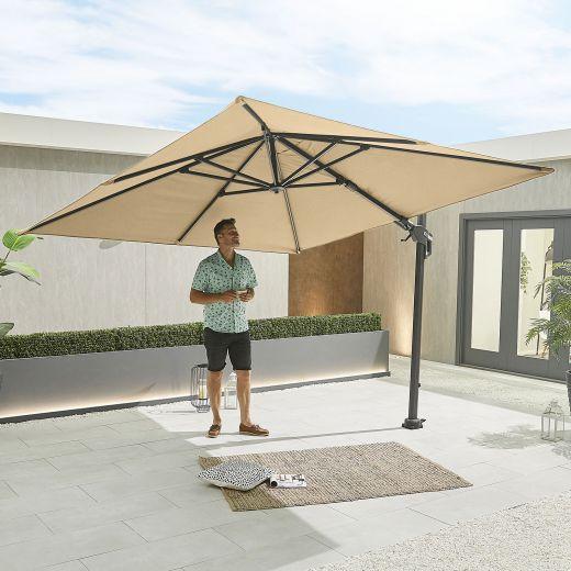 Genesis 3m Square Cantilever Parasol - Crank & Tilt - Beige