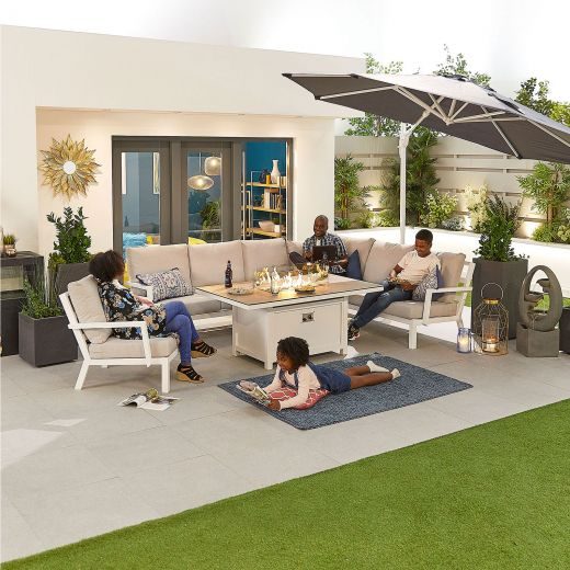 Vogue Aluminium Casual Dining Corner Sofa Set with Firepit Table & Armchair - White Frame