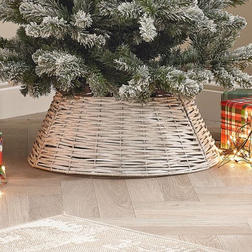 60cm Round Willow Christmas Tree Ring (Collapsible) - White