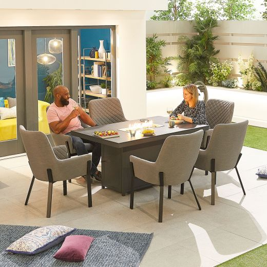Genoa Outdoor Fabric 6 Seat Rectangular Dining Set with Firepit Table - Light Grey