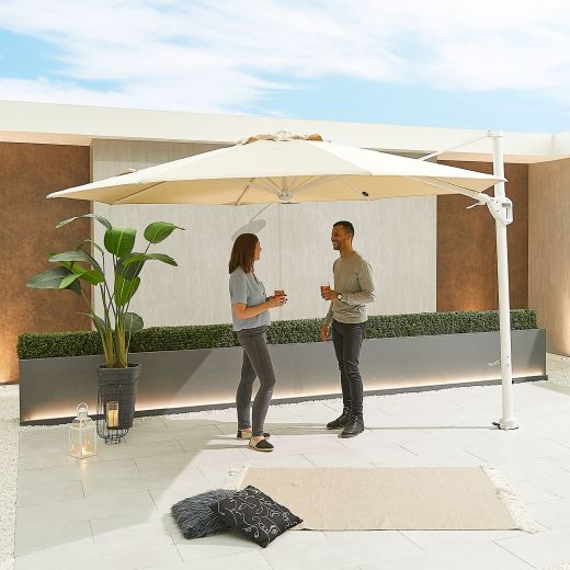 Galaxy 3.5m Round White Frame Cantilever Parasol with LED Lights - Beige