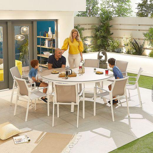 Milano 8 Seat Dining Set - 1.8m Round Table - White Frame
